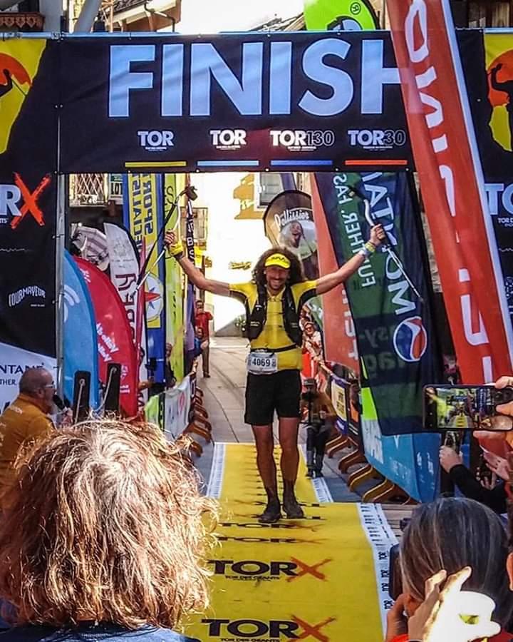 """صورة بلوغ الخط النهائي لمسافة 450 كلم بسباق """"تور دي غلاسيه"""" في نسختها 2019 لـ Luca Papi"""