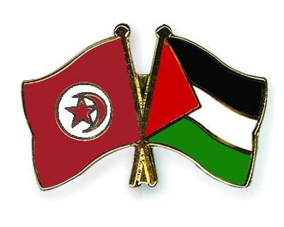 أعلام تونس وفلسطين